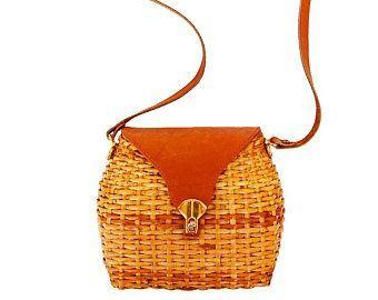 Vintage Wicker Handbag   Shoulder Straw Bag   Crossbody Wicker and Leather Purse