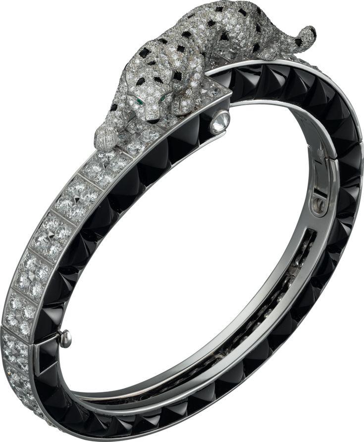 Panthère de Cartier braceletWhite gold, onyx, emeralds, diamonds