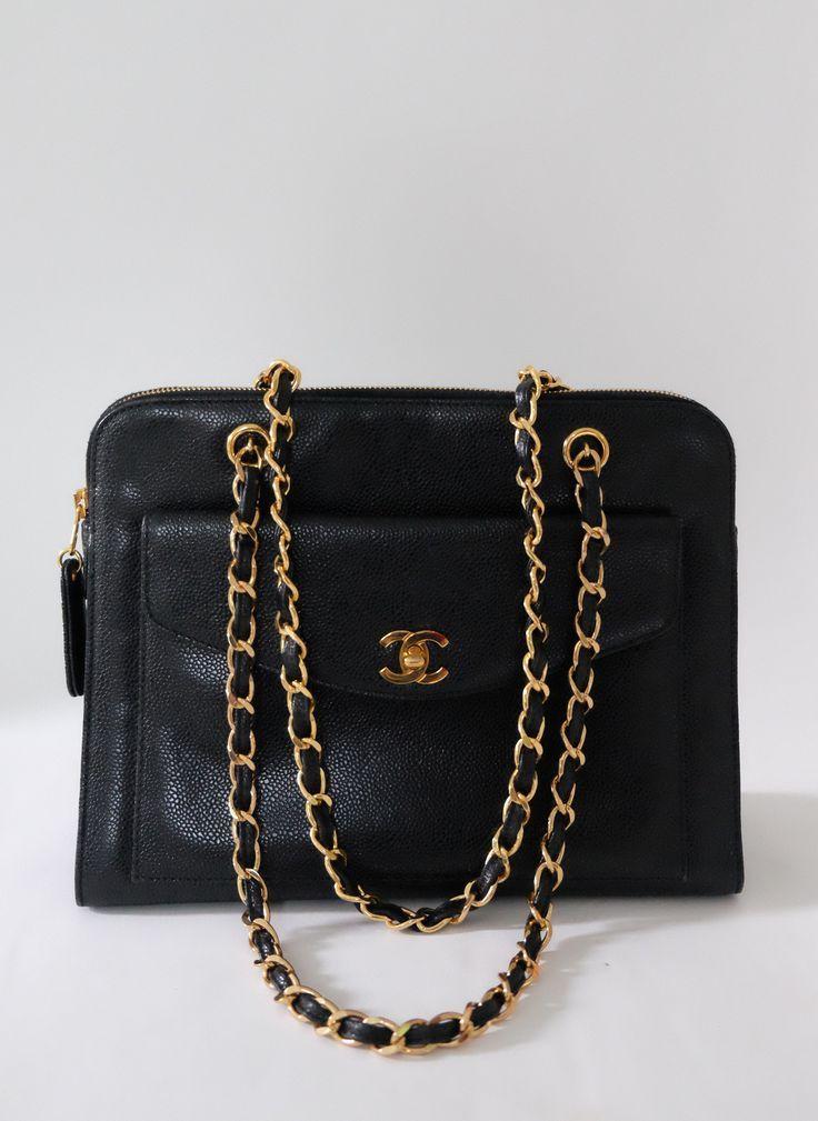 Chanel Vintage Black Caviar Gold Strap Front Pocket Shoulder Tote Bag