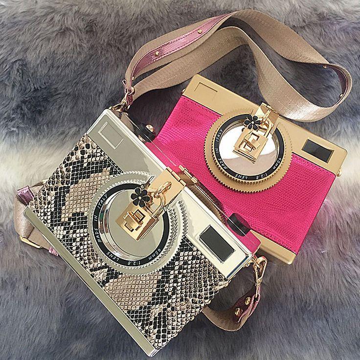 High quality fashion design snakeskin pattern retro camera styling mini shoulder...