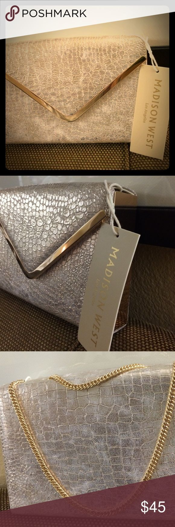 Madison West Faux Snakeskin Clutch Gorgeous Gold Clutch with Gold Colored link s...