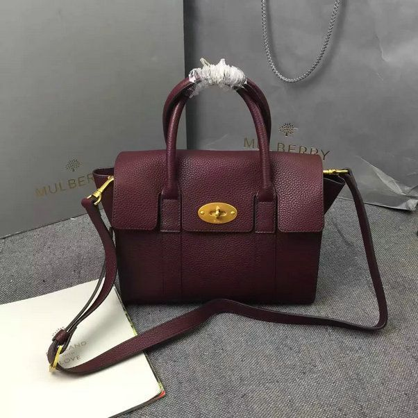 2016 A/W Mulberry Small New Bayswater Oxblood Natural Grain Leather [HH3930-Oxbl...