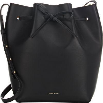 Mansur Gavriel black smooth leather large bucket bag.