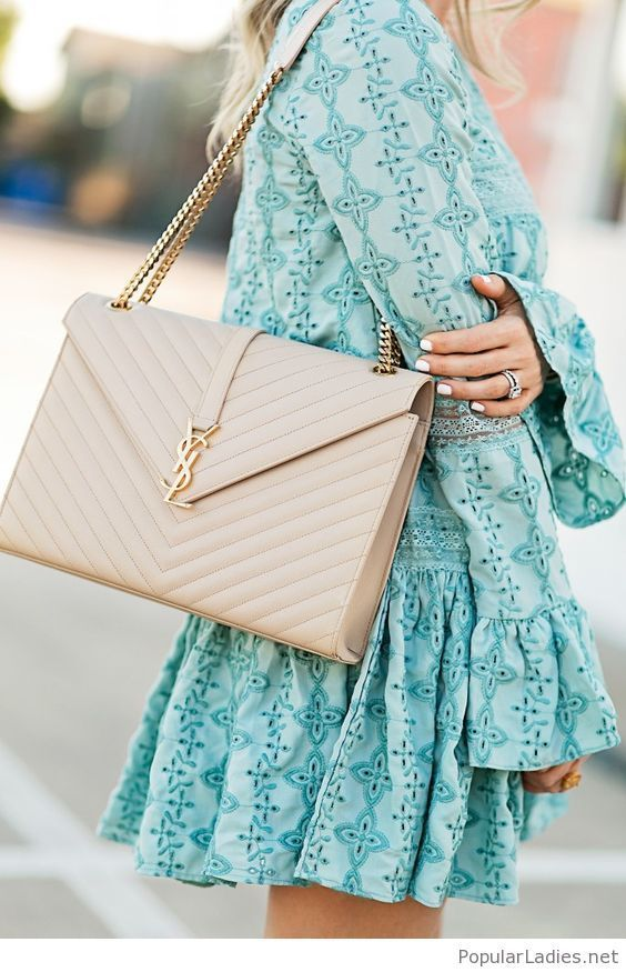 Wonderful mint dress with nice details and a nude YSL bag
