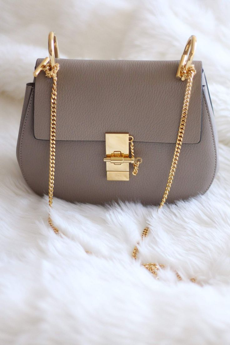 New In: Chloe Drew Bag in Grey - Small, Leather, Gold Hardwear