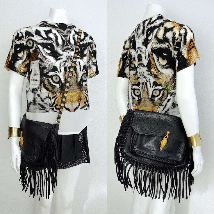 Valentino C-rockee Scarab Fringe Black Calfskin Shoulder Bag