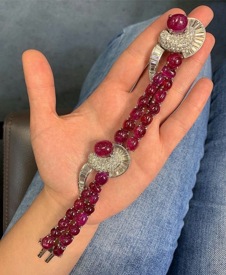 Bang Bang💥💥 Candy like Burmese #Ruby #bracelet with pave and baguette #dia...
