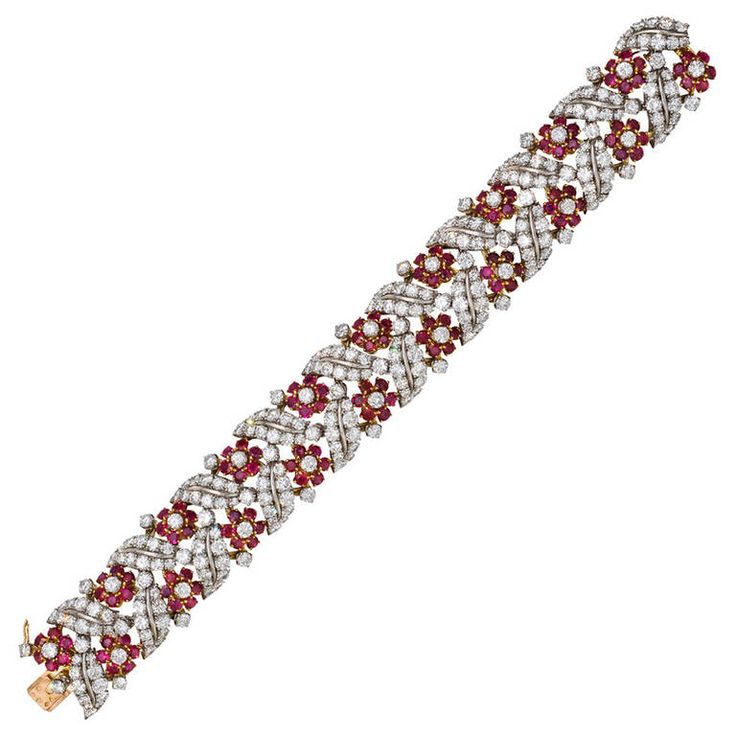 Ruby Diamond Gold Platinum Foliate Bracelet