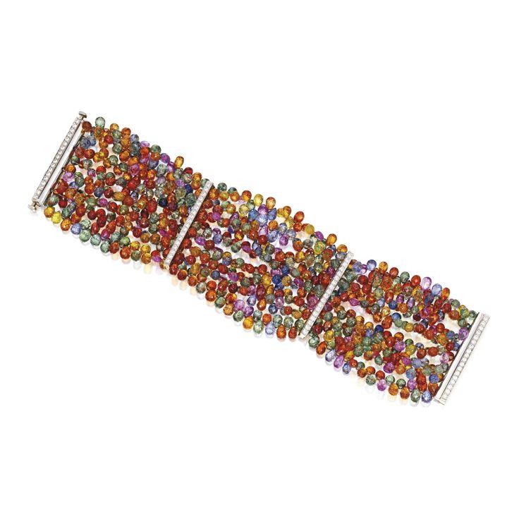 18 Karat Two-Color Gold, Multi-Colored Sapphire and Diamond Bracelet, Tamsen Z b...