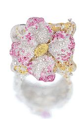 DIAMOND AND GEM-SET 'AZALEA' BANGLE, CINDY CHAO Modelled as an azalea, set in th...