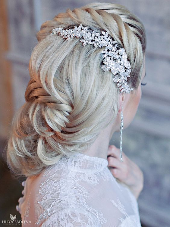 Diamond Hairpiece Fishtail Braid Chignon Wedding Hairstyle - MODwedding
