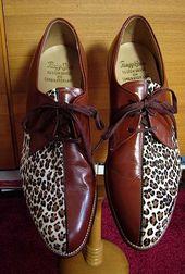 The COOLEST ROCKABILLY Shoes EVER Vintage 50s Super Rare Mens Leopard Fur -on sale-
