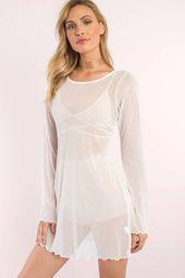 Tobi Evie Long Sleeved Mesh Dress