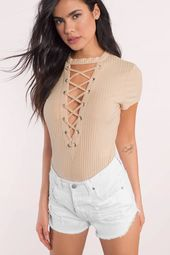 Janessa Ribbed Lace Up Bodysuit