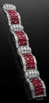 An Art Deco platinum, ruby and diamond bracelet, by Van Cleef & Arpels, circa 19...