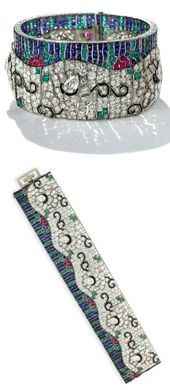 Art Deco diamond and multi-gem wave bracelet by Rubel Freres. | Diamonds in the Library