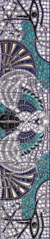Closeup ~ An Art Deco Egyptian Revival platinum, gold, enamel, diamond and onyx ...