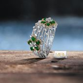 Diamond bracelet with Emeralds. #MBj #Luxury #Desirable #Modern #JewelleryLove #...