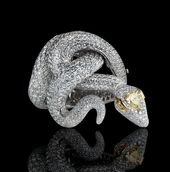 LEVIEV White and Yellow Diamond Snake Bracelet totaling 52.85 carats, handcrafte...