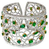 rubies.work/... 18K White Gold Emerald And Diamond Cuff