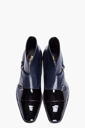 JIL SANDER Black & Navy patent leather monk boots