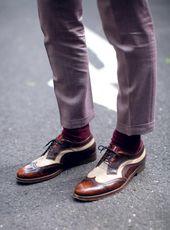 #brown #menswear #brogues #lavender #slimfit #trousers #burgundy #socks #streets...