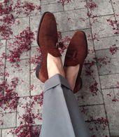 #twill #grey #trousers #tailoring #brown #tassel #shoes #menswear #footwear