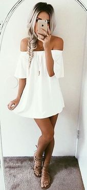 #summer #fashion off-the-shoulder white dress | Never ask for help to zip up aga...