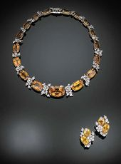 A SUITE OF CITRINE AND DIAMOND JEWELRY, BY VERDURA Designed as a graduated line ...