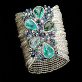Bracelet Tourmaline Paraiba,diamonds,sapphires and pearls and tanzanite