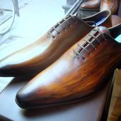 Mens wholecut hand painted brown oxfords #shoesformen #luxury #handmade #mensfas...