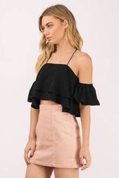 L'atiste On The Way Ruffle Crop Top