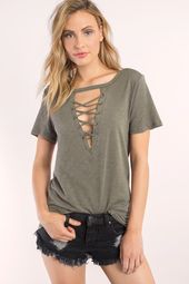 Tobi Camry Lace Up Tee