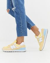 New Balance 574 Pastel trainers in yellow | ASOS