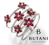 Butani signature spring bangle decorated with deep rich red flowers carefully pi...