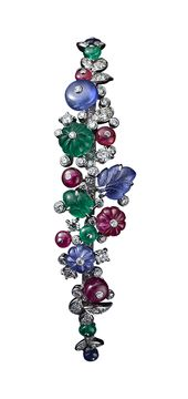 Cartier High Jewelry bracelet Platinum, sapphire, ruby and emerald beads, sapphi...