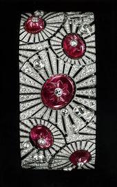 Cartier. Carved ruby and diamond art deco bracelet.