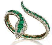 Emerald and diamond bangle: rose-cut diamond body, rectangular-cut emeralds, rou...