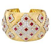 Estate Buccellati Ruby & Diamond Cuff Bracelet