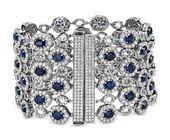 Oval Sapphire and Pavé Diamond Wide Bracelet in 18k White Gold
