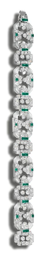 ROCK CRYSTAL, DIAMOND AND EMERALD BRACELET, CIRCA 1925. The octagonal frosted cr...