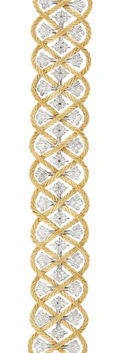 Two-Color Gold Bracelet, Buccellati 18 kt., the openwork bracelet composed of in...