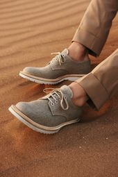 Prada lace-ups in beige linen with white rubber soles, $450.