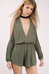 Be My Beauty Cold Shoulder Long Sleeve Romper