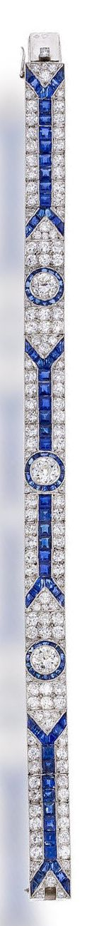 An art deco sapphire and diamond bracelet, French circa 1925 set with old Europe...