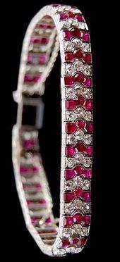 CIrca 1920's All Natural No Heat Ruby and Diamond Bracelet