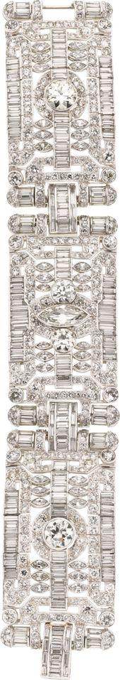 Diamond, Platinum Bracelet. ... Estate Jewelry Bracelets | Lot #58103 | Heritage Auctions