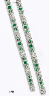 Emerald-cut emerald, calibré emerald, diamond and platinum bracelets which conv...