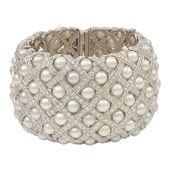Fabulous Wide Pearl Diamond Cuff Bracelet