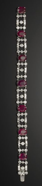 GOLD, RUBY AND DIAMOND BRACELET